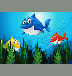 many sharks cartoon character in underwater vector image