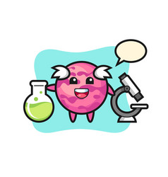 Mascot character ice cream scoop as a scientist vector