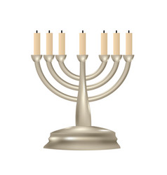 menorah seven branched candlestick vector image