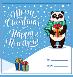 merry christmas greeting card with panda vector image