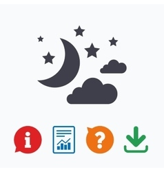 Moon clouds and stars sign icon Dreams symbol vector
