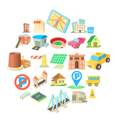 municipal icons set cartoon style vector image