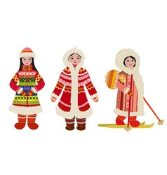 Northern people in costumes vector