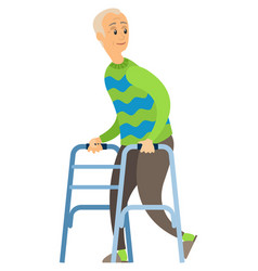 old disabled man with paddle walker happy veteran vector image