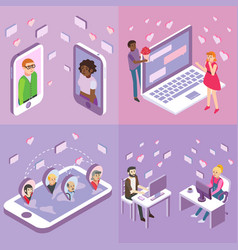online dating flat isometric poster banner vector image