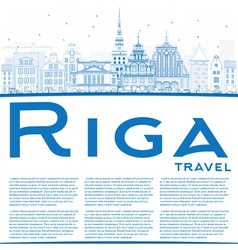 Outline Riga Skyline with Blue Landmarks vector image