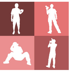 Photography 4 action on the white silhouette vector