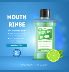 realistic detailed 3d mouth rinse ads vector image