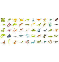 reptile icon set flat style vector image