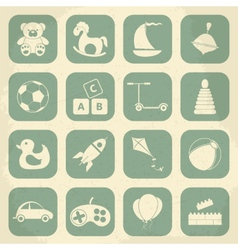 Retro children toys icon set vector