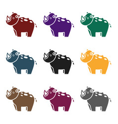 rhinoceros icon in black style isolated on white vector image