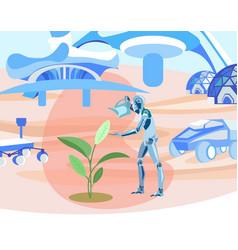 robot growing plants in cosmos flat vector image