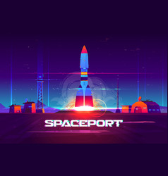 Rocketship launching from spaceport cartoon vector