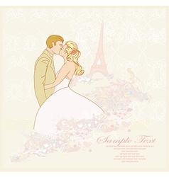 Romantic wedding couple in Paris kissing near the vector image