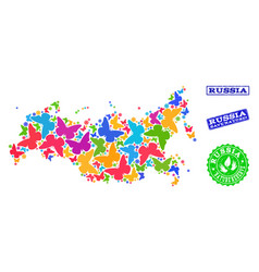 Save nature composition of map of russia with vector