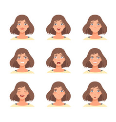 Set female emotions in vector