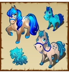 Set of cartoon horses with blue mane and tail vector image