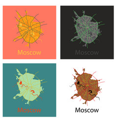 Set of flat color map of moscow all objects vector
