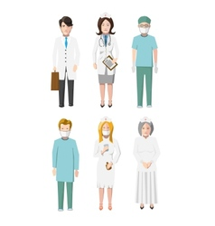 Set of six doctors flat cartoon characters vector image