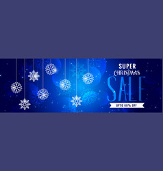 shiny christmas sale blue banner design vector image