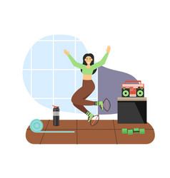 sport and fitness activities young woman doing vector image