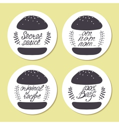 Stickers with freehand drawn burgers and hand vector