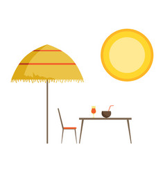 straw umbrella table and cocktails summer time vector image