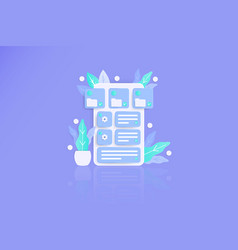 Structure data 3d modern awesome flat landing page vector