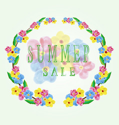 summer sale cardwatercolor flowers vector image