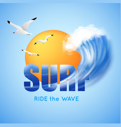 Surfing and big wave poster vector