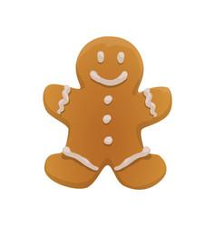 Sweet gingerbread man christmas cookie vector