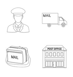 The postman in uniform mail machine bag for vector