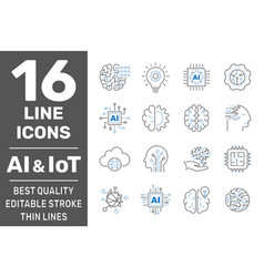 thin icon set with machine learning smart robotic vector image