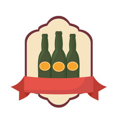 three beer bottle drink beverage emblem vector image