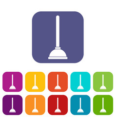 Toilet plunger icons set vector