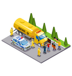 Toxic waste isometric composition vector