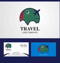 Travel turkmenistan flag logo and visiting card vector