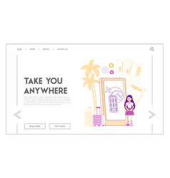 Traveling with kids landing page template little vector