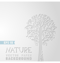 Tree with music notes on paper background vector image