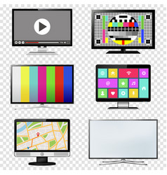 tv and computer monitor screen set on transparent vector image