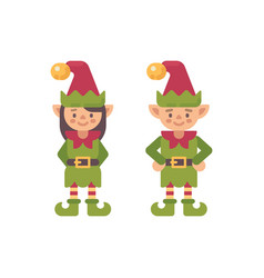 two cute christmas elves male and female santa vector image
