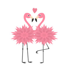 Two flamingo set pink heart flower body exotic vector
