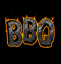 typographic fiery bbq lettering vector image