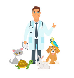 Veterinarian surrounded with home pets vector