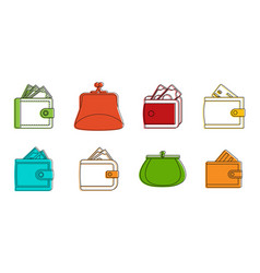 wallet icon set color outline style vector image