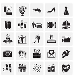 wedding icons set on squares background for vector image