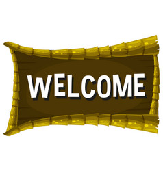 welcome sign on wooden board vector image