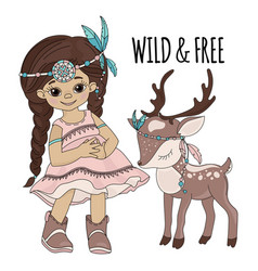 wild freedom pocahontas indian princess vector image