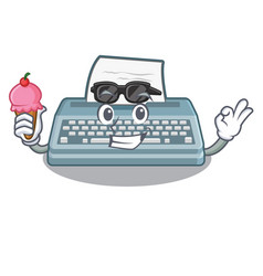 With ice cream typewriter isolated with in the vector