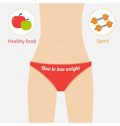 Woman figure waist underwear Healthy food sport vector